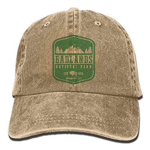 Badlands National Park Adult Cotton Washed Denim Leisure Cap Hat Adjustable Natural