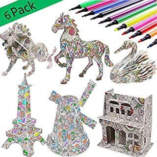 KAZOKU 3D Coloring Puzzle Set,6 Pack Puzzles with 24 Pen Markers, Art Coloring Painting 3D Puzzle for Kids Age 7 8 9 10 11 12. Fun Creative DIY Toys Gift for Girls and Boy