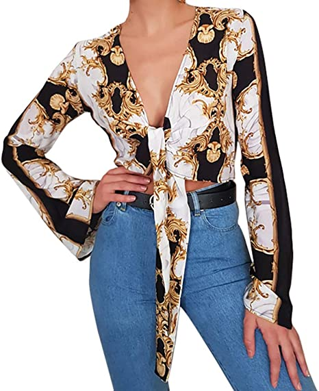 YJYDADA blusa sexy para mujer, cuello en V, con estampado de cadena y encaje: Amazon.es: Juguetes y juegos