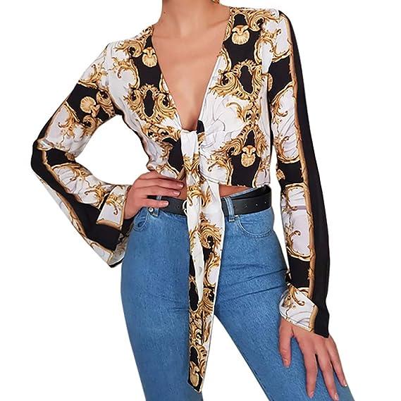 c6f04ab0 OPAKY Moda para Mujer Blusa Atractiva Tops Cadena con Cuello en V ...