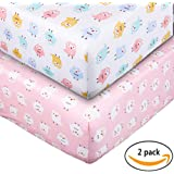 Crib Sheet UOMNY 100% Cotton Baby Coverlet for Baby Girl and Baby Boy 2 Pack(Pink owl pattern/White owl pattern)
