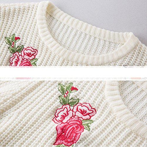 Femmes Côtelé Broderie Blanc Tricot Ai Hiver Fleur moichien Pull pRx5wq6