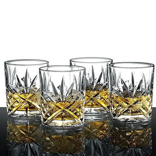 James Scott Double Old Fashioned Crystal Drinking Glasses Set, Irish Cut Design - Set of 4 - 8 (Irish Crystal Glassware)