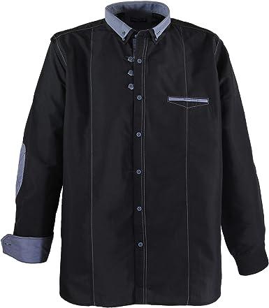 Negro Camisa de manga larga de Lavecchia hasta talla 7XL ...