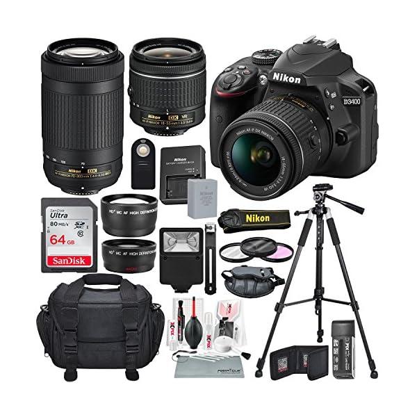 615b7bvOrAL. SS600  - Nikon D3400 with AF-P DX NIKKOR 18-55mm f/3.5-5.6G VR + Nikon AF-P DX NIKKOR 70-300mm f/4.5-6.3G ED Lens + 64GB, Deluxe…