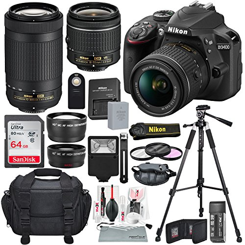 Nikon D3400 with AF-P DX NIKKOR 18-55mm f/3.5-5.6G VR + Nikon AF-P DX NIKKOR 70-300mm f/4.5-6.3G ED Lens + 64GB, Deluxe Accessory Bundle and Xpix Cleaning - Nikon Camera Wifi With