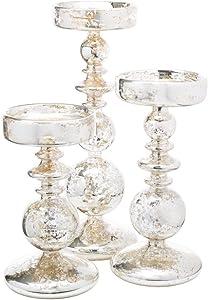 Richland Pillar Candle Holders Unique Mercury Bubble Set of 18