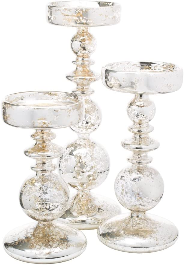Richland Pillar Candle Holders Unique Mercury Bubble Set Of 3 Kitchen Dining