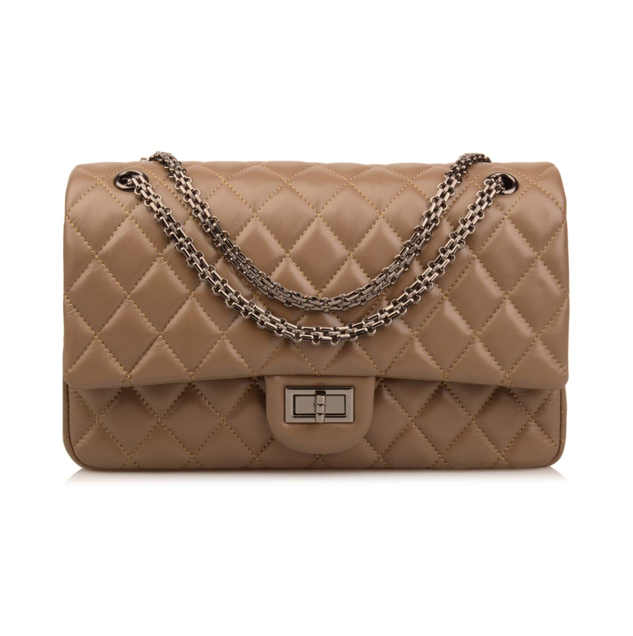 Ainifeel Women's Genuine Leather Quilted Shoulder Handbag Hobo Bag Crossbody Purse (Medium, Khaki)