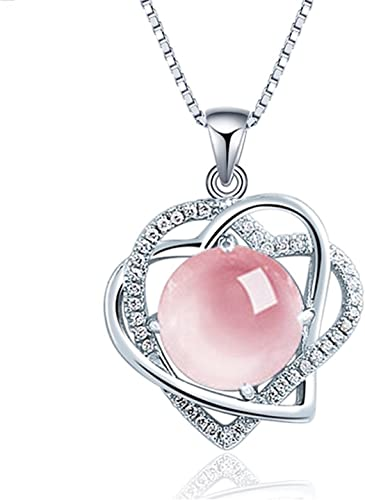 Pink White Oval Crystal Flower Pendant Necklace 925 Sterling Silver Women