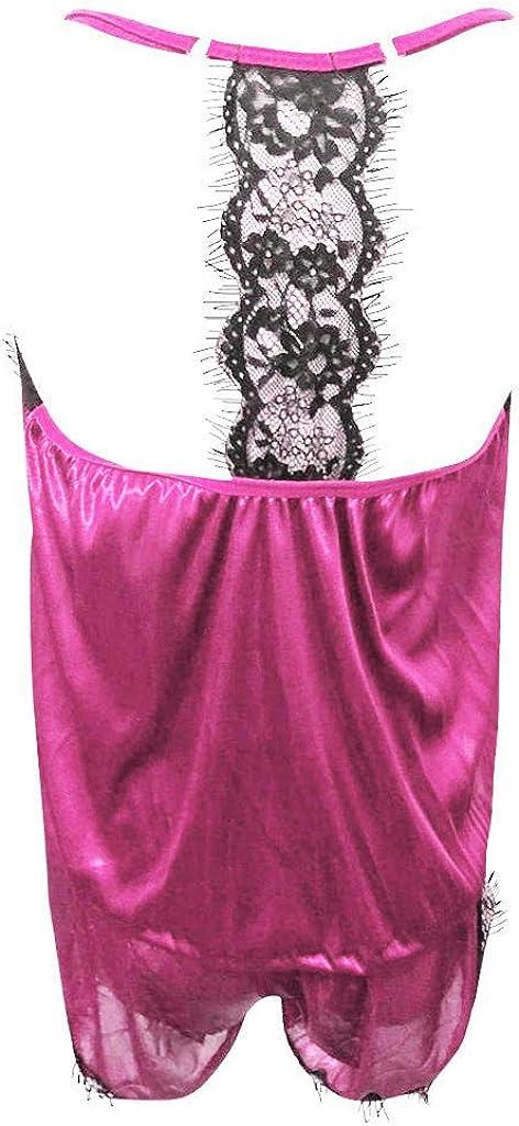 Selomore Ropa de Dormir para Mujer Correa Sin Mangas Ropa de Dormir Encaje Ribete de Sat/éN Cami Top Conjuntos de Pijama Pijama de Encaje para Mujer Set Servicio A Domicilio