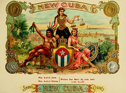 (Old Tin Sign Vintage-Cuban-Cigar-Box-Labels New Cuba Old Cigar Box Advertising Labels)