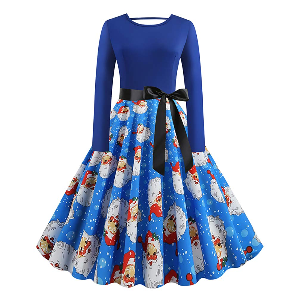 Quellfluss Womens Christmas Dresses Long Sleeve Round Neck Xmas Evening Cocktail Party Swing Dress with Belt