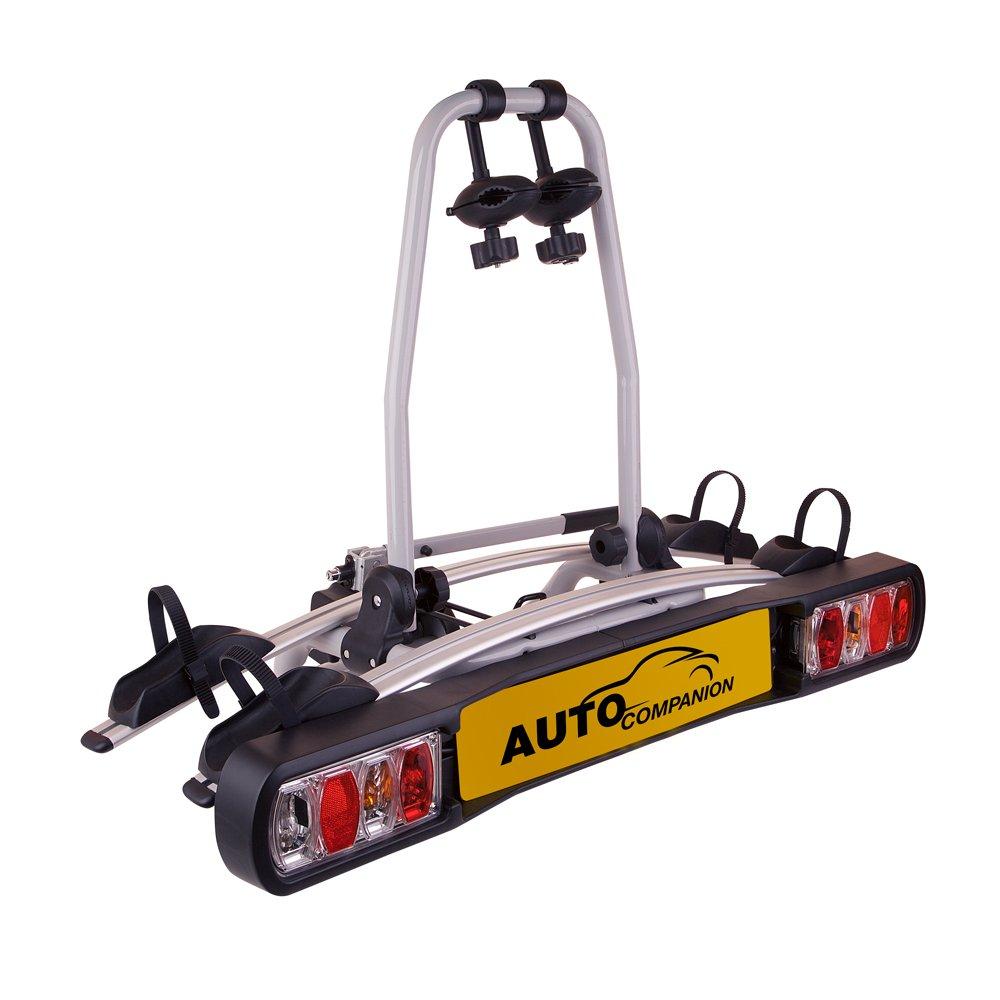 Auto Companion - Piattaforma portabici posteriore, per 2 biciclette, da fissare al giunto sferico di traino AUTOC-18
