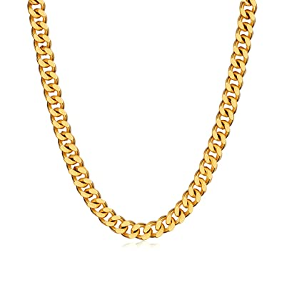 85619853fa4bd WINNICACA Men Italy Cuban Link Necklace 24k Gold Plated Big Gold ...