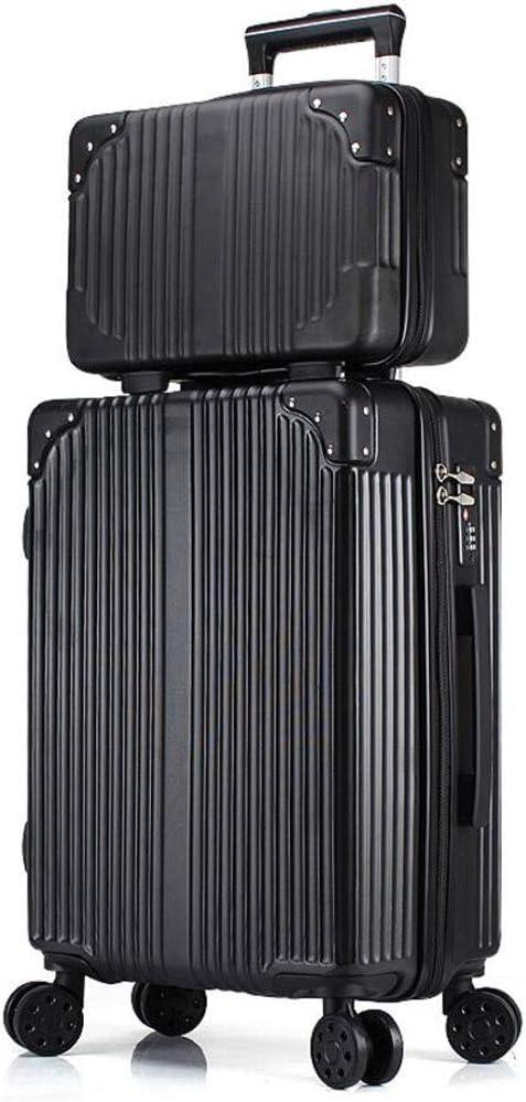 La maleta Trolley Viaje Dos Piezas Embarque Alta Capacidad Universal Rueda Consignación Contraseña Unisex CHENGYI (Color : Black, Size : 28 Inches)
