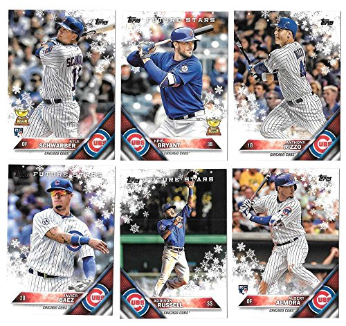 (2016 Topps Walmart Holiday Snowflake - CHICAGO CUBS Team Set)