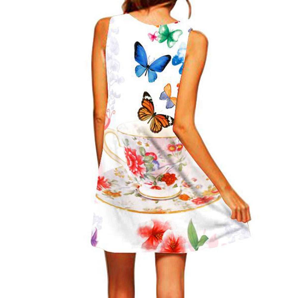 Vestidos Mujer Casual 2019-Ronamick,Mujer Verano Vestido Sin Mangas con Cuello Redondo y Estampado de Sauce de Mariposa para Mujermujer Ropa Mujer Oceano Verano de Las Mujeres Vestidos