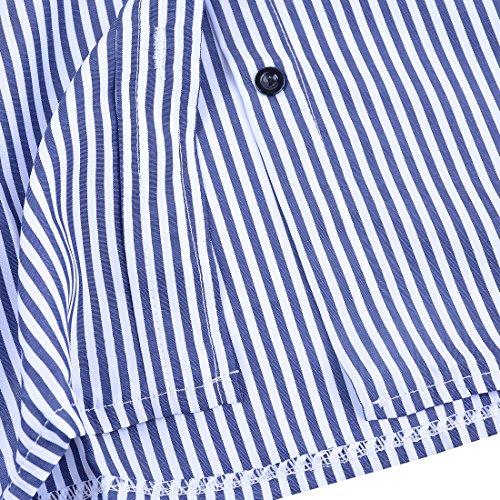 Blouse Sfit Rayure Chemise Marine Bleu Chemisier Manches Printemps Tops Automne blanc Casual Longues pour Femme qr0wIr