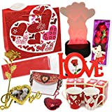 valentines day kids gift baskets - Joyin Toy Deluxe Valentine's Day Gift Set with LED Decor, 2 Valentine Mugs, Heart Shape Key Chain, Fabric Rose, Mini Bear, Gold Foil Rose, Love Letter, Photo Frames, Gift Bag, Red Tissue Paper