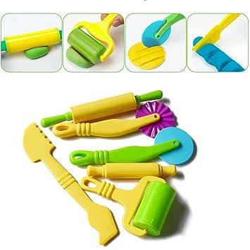 STOBOK Kit de Herramientas de Pasta 24 Piezas Art Clay y Herramientas de Juego de Masa con Modelos y moldes para niños pequeños (Color Aleatorio): ...