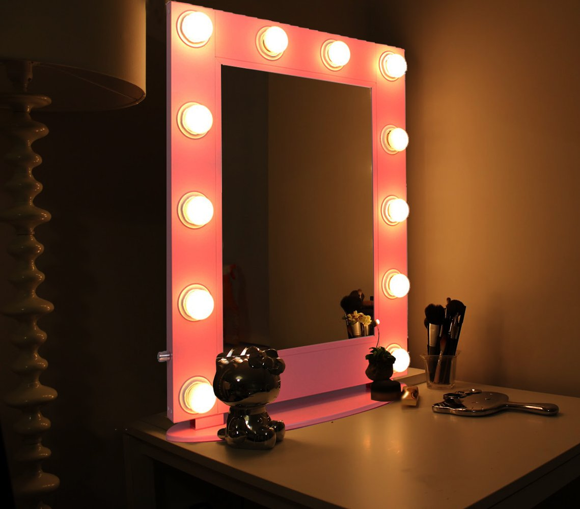 Alice Lighted Tabletop Hollywood Makeup Vanity Mirror with LED Bulb & Dimmer (Pink)