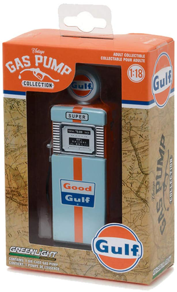 Modellino Die Cast POMPA di BENZINA Serie 1 GOOD GULF Scala 1:18 Serie VINTAGE GAS PUMP COLLECTION Greenlight Collectibles Gulf Super