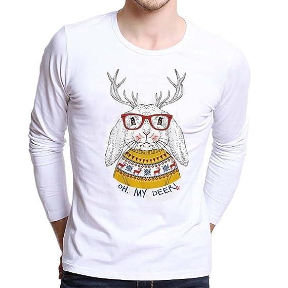 Koly Camiseta para Hombres más tamaño impresas Navidad Tees Camisa Largo Manga Capital Camisetas y tops Blusa Top de Manga Larga para Hombre Moda Christmas ...