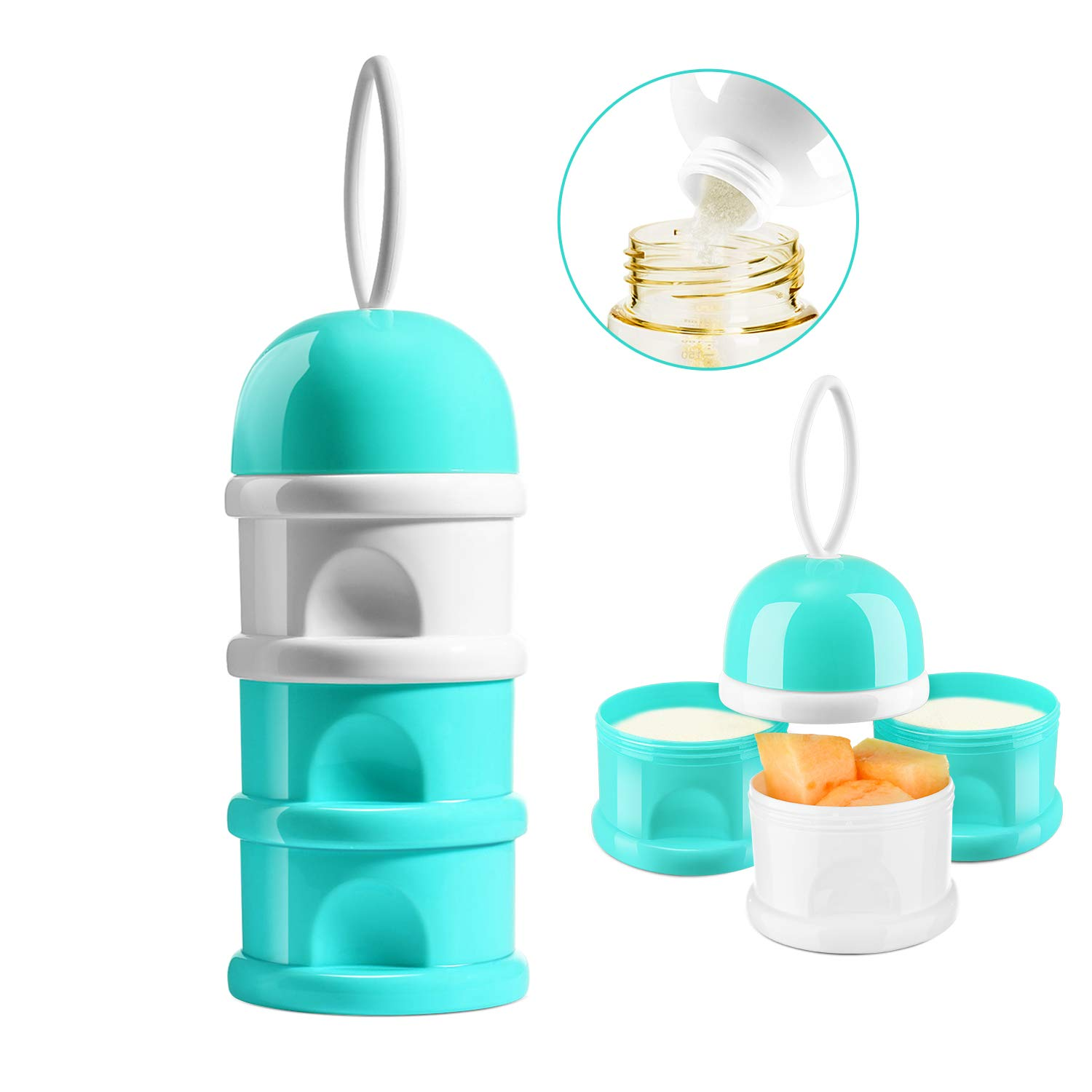 ORIY Baby Milk Powder Formula Dispenser,Large Capacity,Non-Spill Twist-Lock Stackable Milk Powder Formula Container and Snack Storage for Travel,Powder Leakage Free,BPA Free,3 Compartment,Green