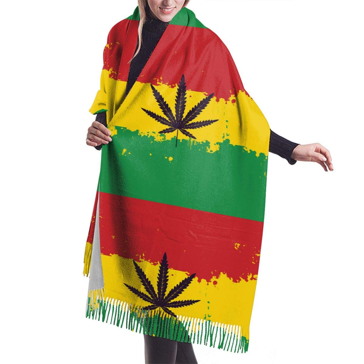 Banner For Legalize Marijuana With Rasta Flag Womens Print Winter Warm Thick Soft Oversize Cashmere Scarf Shawls