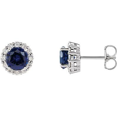 9ba10a1d5 Amazon.com: Lab-Created Blue Sapphire 14k White Gold Chatham Created ...