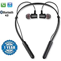 SHOPTOSHOP TM B11 Bluetooth Wireless Headphones Sport Stereo Headsets Hands-Free with Microphone and Neckband for Android and Apple Devices (Multi Colored) (Standard)