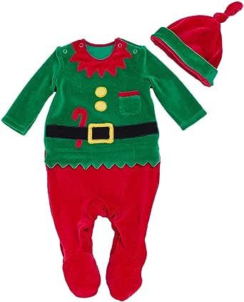 FANCYNN Niñito Bebé Chicos Mono de Navidad Romper Xmas Body con Sombrero