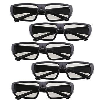 Baoblaze 5 pcs de Gafas de 3D para TV Películas Ligero Fácil de Llevar Colorde Negro