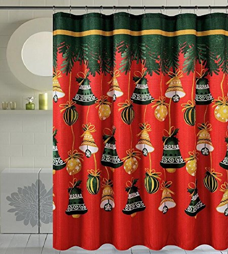 Season's Greetings 13 Piece Waffle Fabric Shower Curtain with crystal roller shower hooks.(13, Jingle Bells)