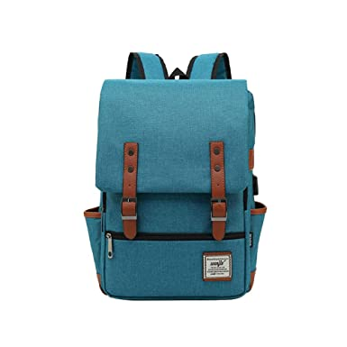 51403a34b646 Image Unavailable. Image not available for. Color  USB Canvas Vintage  Outdoor Backpack Travel Daypack Hiking Camping School Rucksack for Women Men  ...