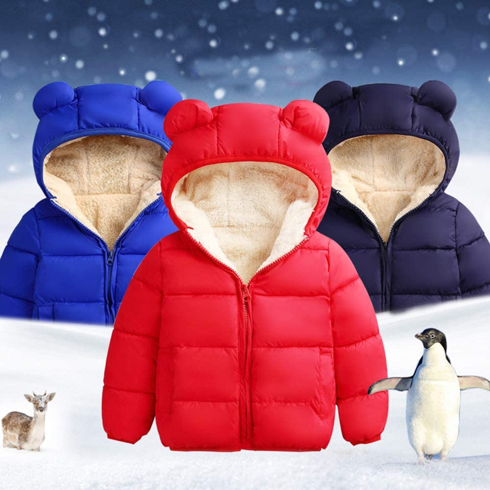 HALIGHT Toddler Baby Boys Girls Winter Warm Coat Hooded Down Jacket Outerwear Cotton Clothing