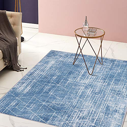 jinchan Geometric Area Rug for Kitchen Contemporary Triangle Tiles Print Design Soft Indoor Mat for Bedroom Living Room Light Blue 4 x 6 7