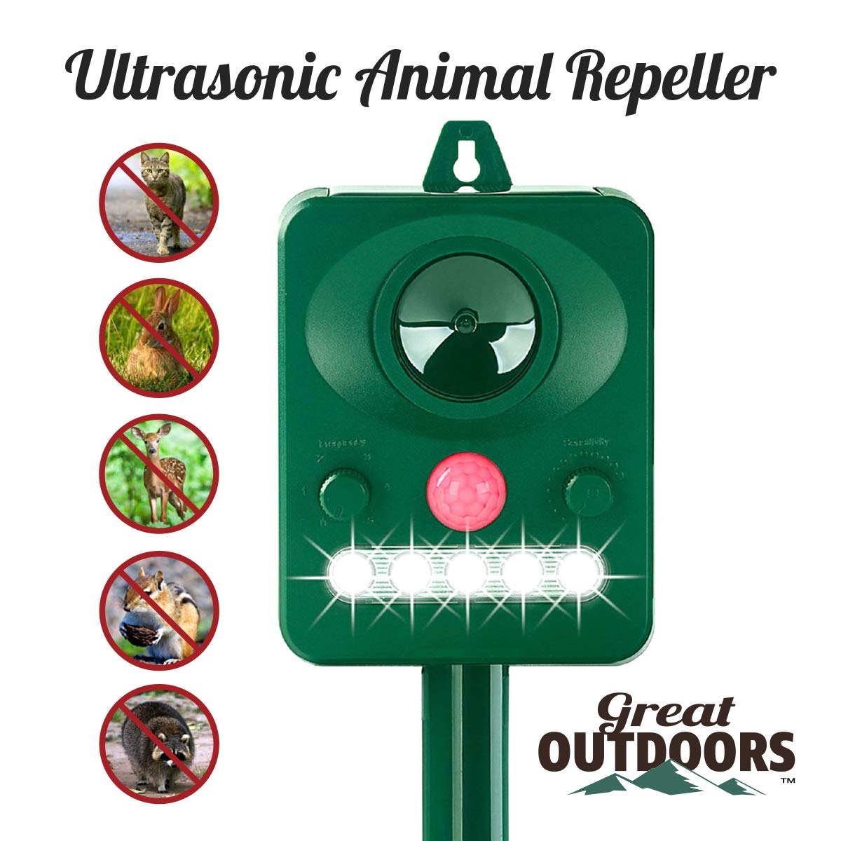 Great Outdoors Ultrasonic Animal Repeller - Eco-Friendly and Waterproof Solar Repellent with Sound Control - Sonic Deterrent for Bird Deer Cat Dog Squirrel Raccoon Rabbit Fox - Garden Protection by GREAT OUTDOORS TM