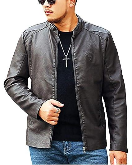 097aa7a97ce1 Hommes Classique Slim Fit Veste en Cuir Moto Blouson Manches Longues Vestes  Softshell Motorcycle Jackets  Amazon.fr  Vêtements et accessoires