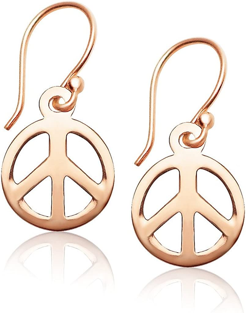 Silverline Jewelry 925 Sterling Silver Peace sign Hippie Symbol Dangle Earrings