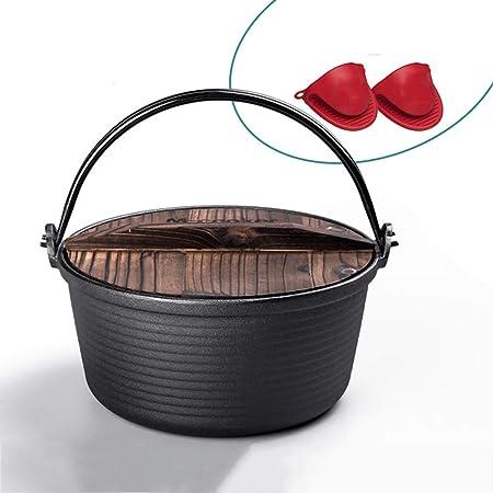 Horno holandés de 4,8 l con tapa de madera y hierro fundido, horno ...