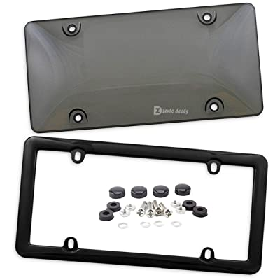 Zento Deals Clear Smoked License Plate Cover and Frame - Combo Shield Premium Quality License Plate Clear Smoked Black Bubble Shield and Frame: Automotive