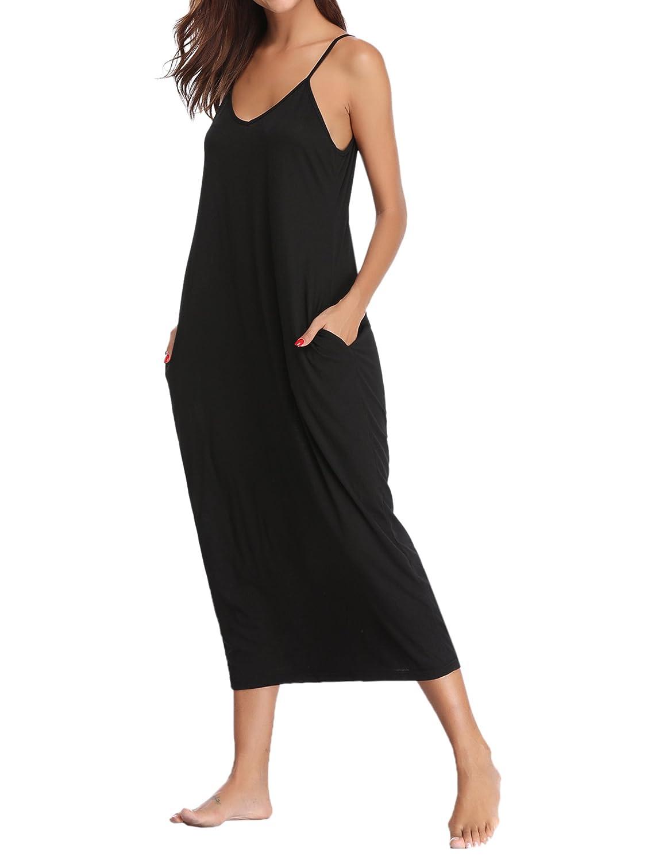 TALLA XL. Aibrou Vestidos Mujer Algodón Verano,Vestidos de Playa sin Mangas Falda Largo Sexy Elegante y Comodo Dress para Playa Casual Caminar Diario Compras Negro#1 XL