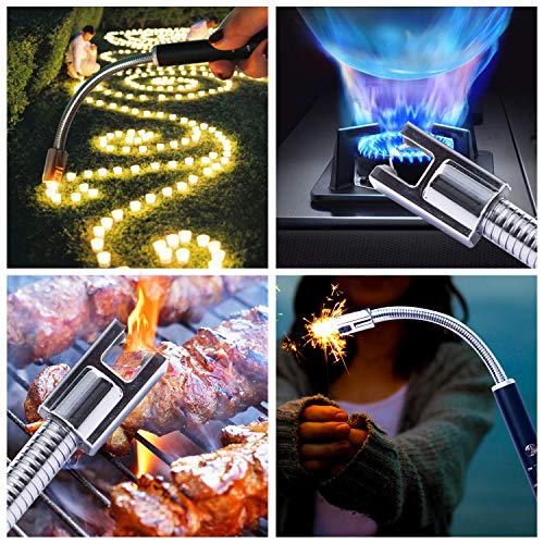 VEHHE Candle Lighter, Electric Rechargeable Arc Lighter with LED Battery Display Long Flexible Neck USB Lighter for Light Candles Gas Stoves Camping Barbecue