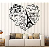 Vinyl Wall Decal Paris France Heart Travel Eiffel Tower Love Romance Stickers Large Decor (1144ig) Sky Blue