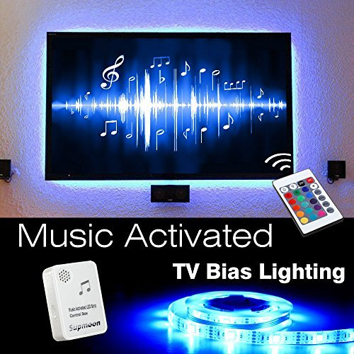 USB LED TV Bias Lighting, Supmoon SP-007 Backlight Strip for 27 inch to 55 inch Flat HDTV 20 Color options Sync Switch On/off with TV Dimmable Remote Control (RGB Music Activated)