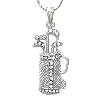 Amazon soulbreezecollection golf clubs bag sports pendant soulbreezecollection golf clubs bag sports pendant necklace pink rhinestone ladies golf sports fashion jewelry clear aloadofball Images