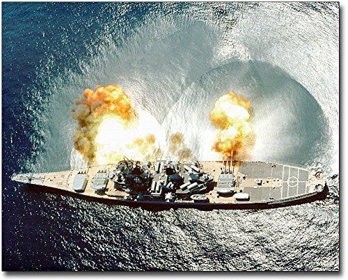USS Iowa BB-61 Battleship Firing Guns 8x10 Silver Halide Photo Print (Iowa 61 Bb Battleship)