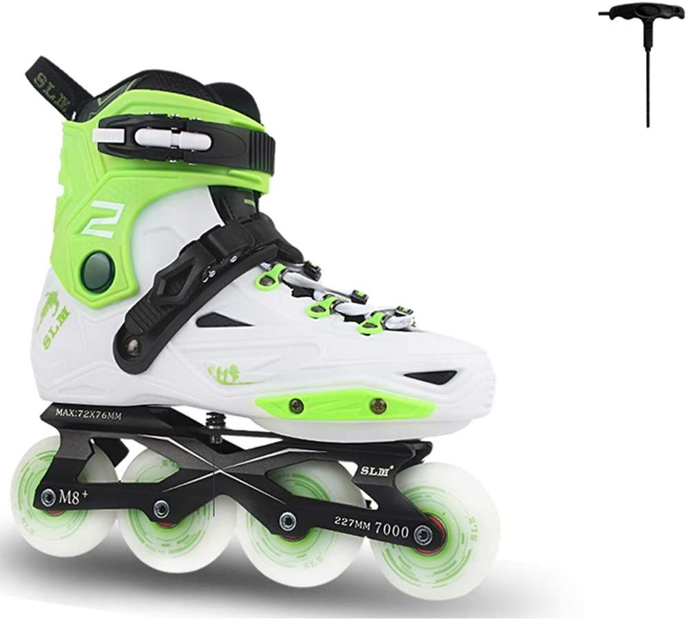 ZHANGHAIMING 大人のインラインスケート、男性の女性初心者スケート、カジュアルフィットネスローラースケート、ブラックホワイトグリーン (Color : A, Size : EU 37/US 5/UK 4/JP 23.5cm)